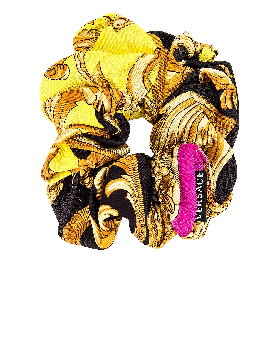 Image 3 of VERSACE Baroque Hair Scrunchie in Fuchsia & Yellow
