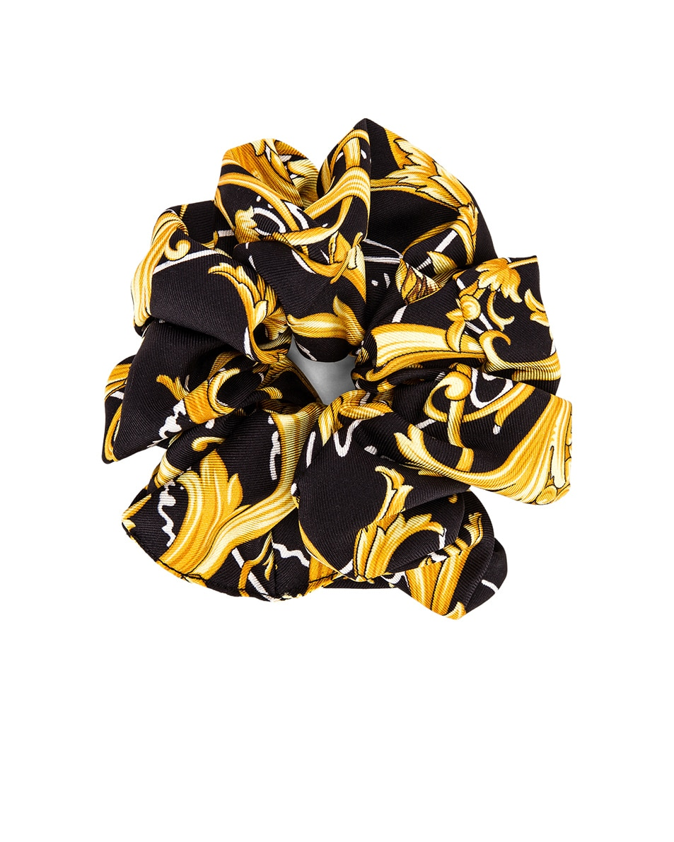 Image 1 of VERSACE Brocade Hair Scrunchie in Black & Gold