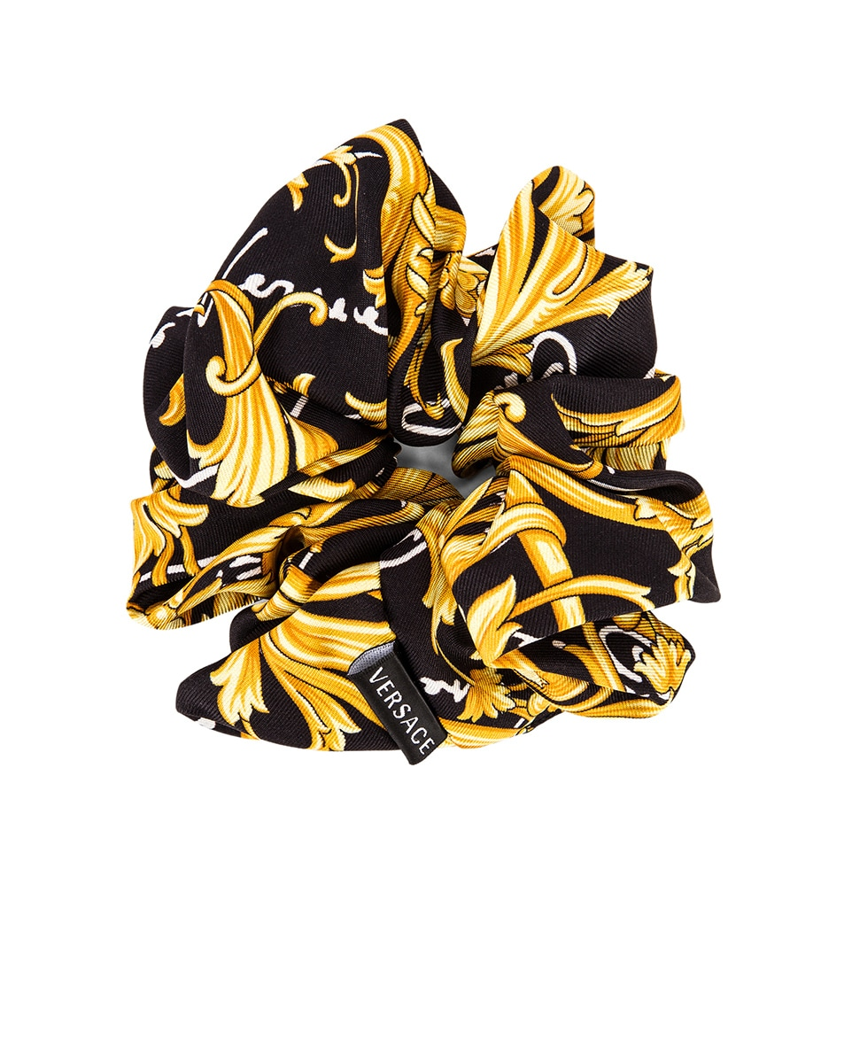 Image 2 of VERSACE Brocade Hair Scrunchie in Black & Gold