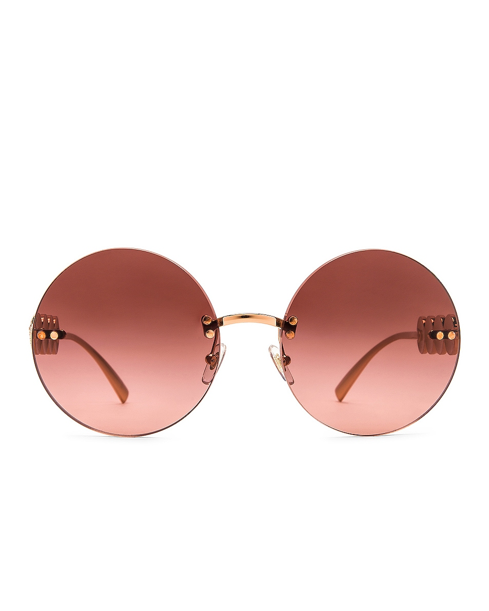 Image 1 of VERSACE Medusa Round Sunglasses in Pink Gold