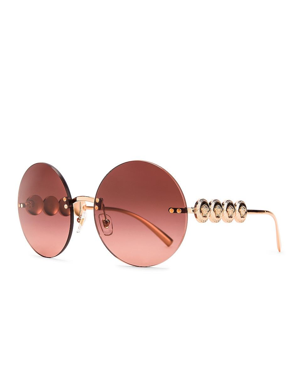 Image 2 of VERSACE Medusa Round Sunglasses in Pink Gold