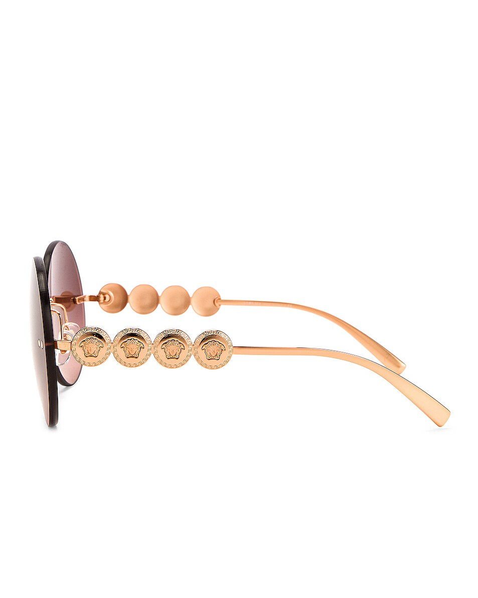 Image 3 of VERSACE Medusa Round Sunglasses in Pink Gold