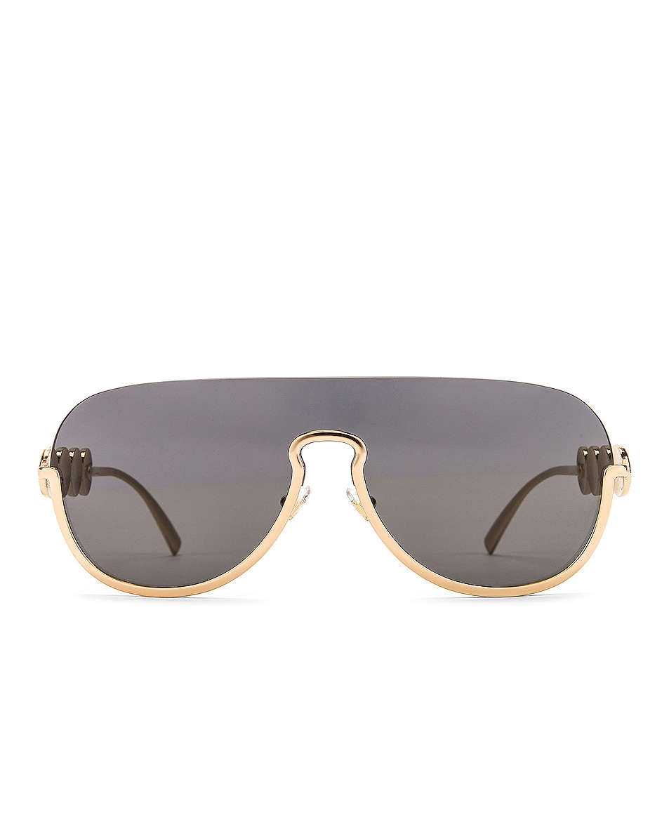 Image 1 of VERSACE Medusa Shield Sunglasses in Grey & Gold