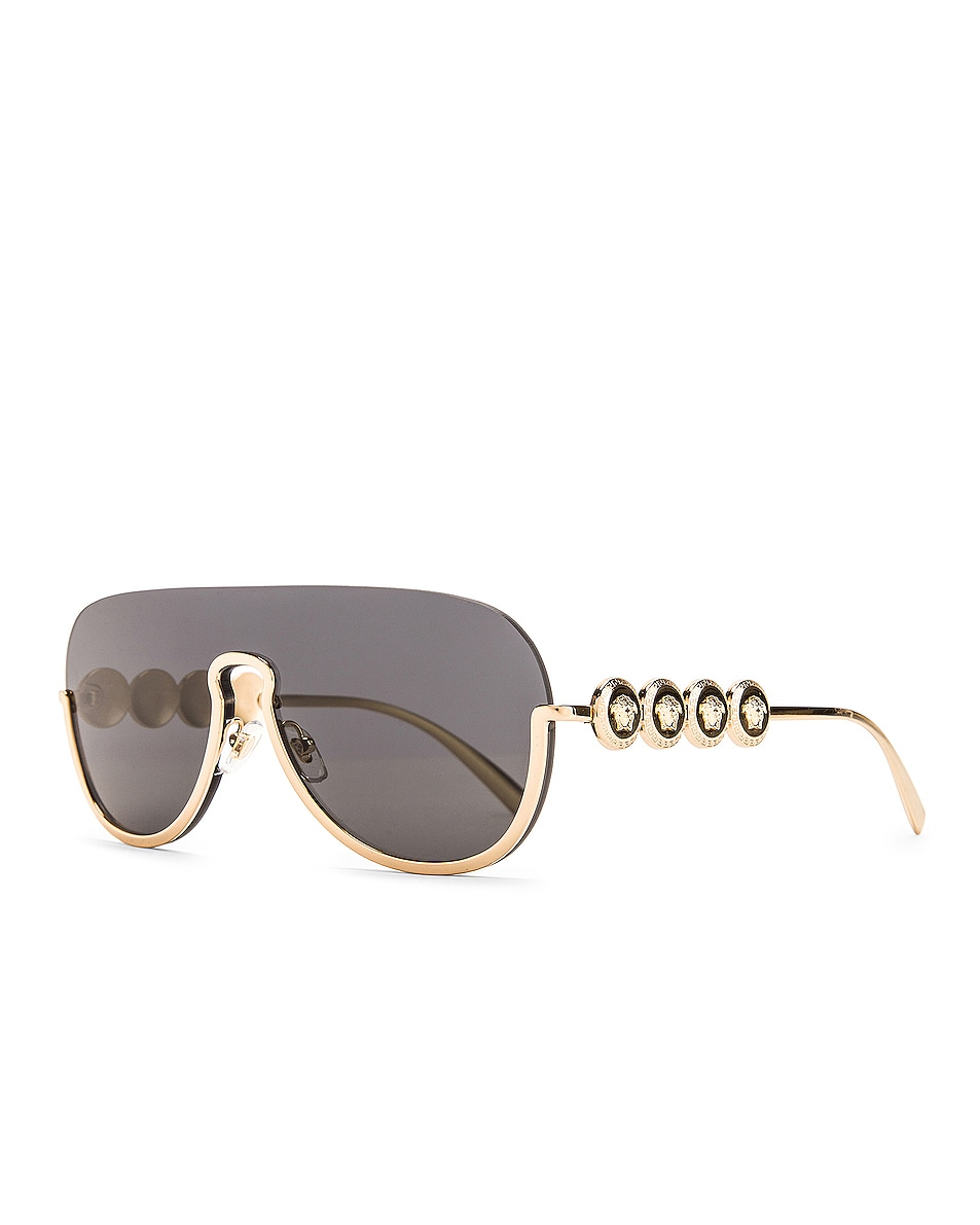 Image 2 of VERSACE Medusa Shield Sunglasses in Grey & Gold