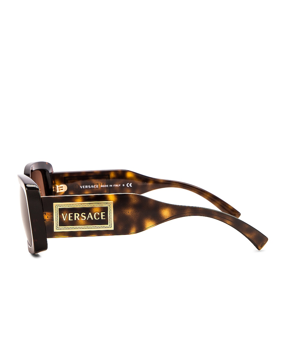 Image 2 of VERSACE Vintage Logo Rectangle Sunglasses in Havana
