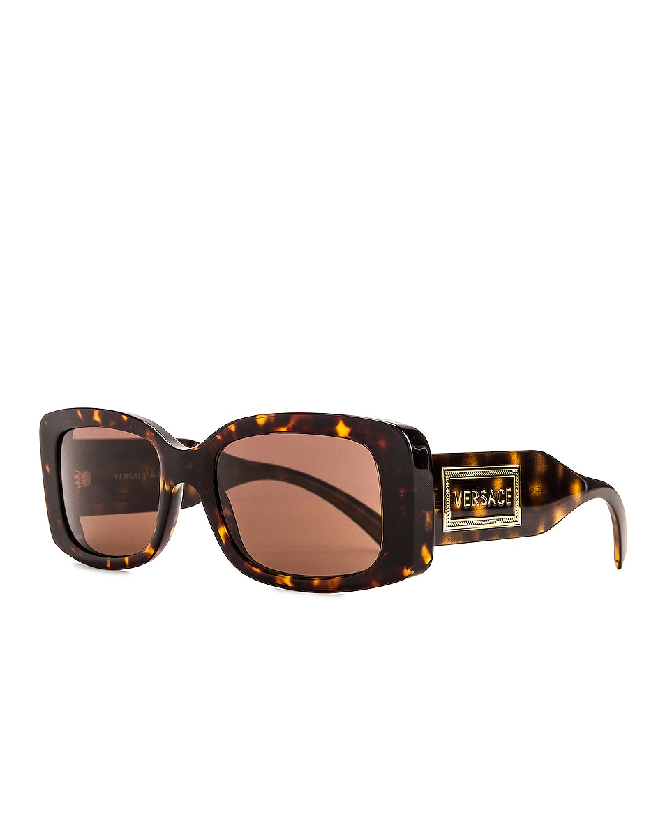 Image 3 of VERSACE Vintage Logo Rectangle Sunglasses in Havana