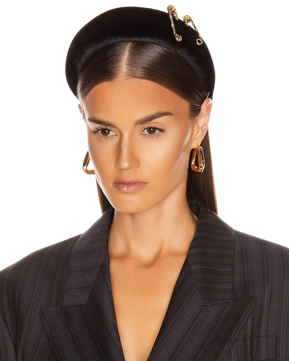 Image 2 of VERSACE Pin Headband in Black