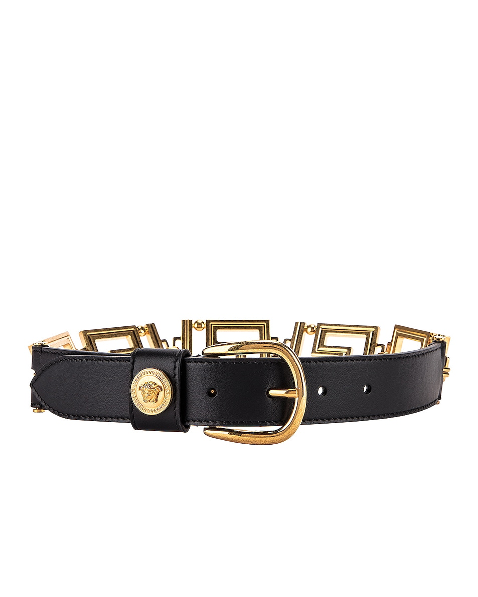 Image 1 of VERSACE Leather Belt in Black & Gold