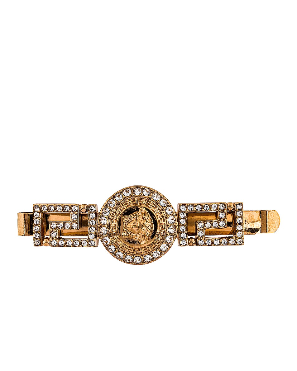 Image 1 of VERSACE Mixed Hair Clip in Crystal & Gold