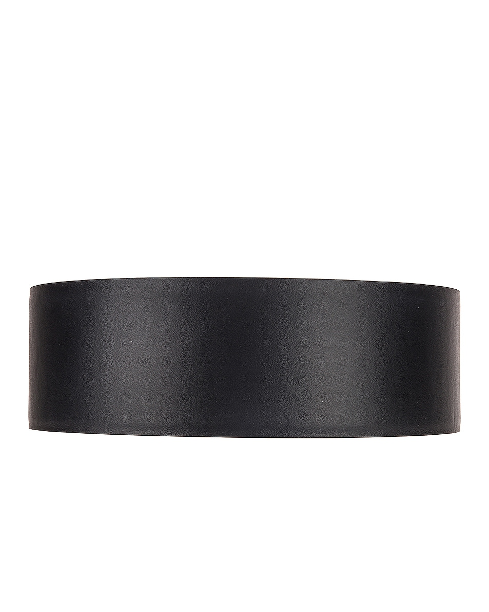 Image 2 of VERSACE Thick Leather Belt in Black & Gold
