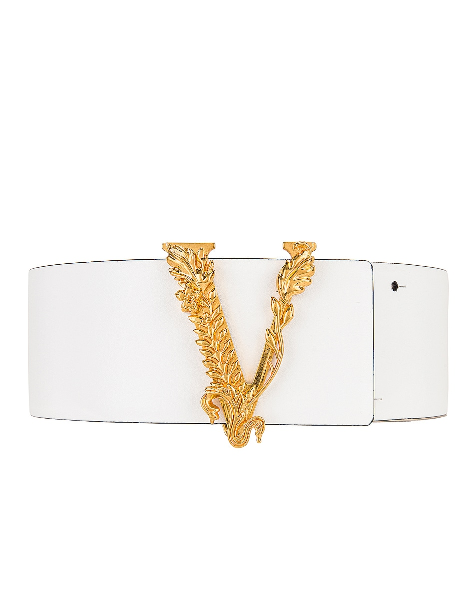 Image 1 of VERSACE Thick Leather Belt in White & Gold