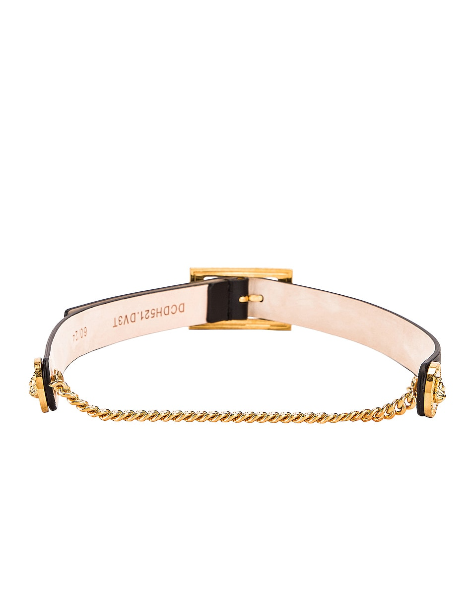 Image 2 of VERSACE Leather Buckle Belt in Black & Gold