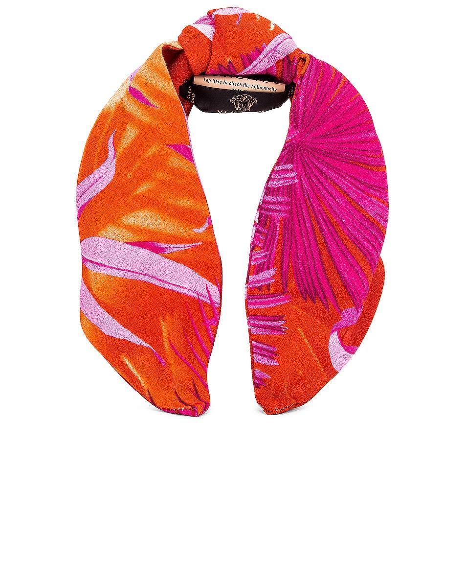 Image 1 of VERSACE Palm Headband in Fuchsia & Orange
