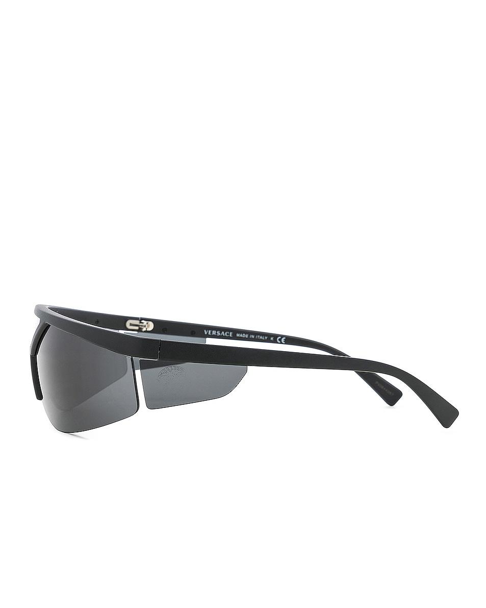 Image 3 of VERSACE Wrap Shield Sunglasses in Matte Black