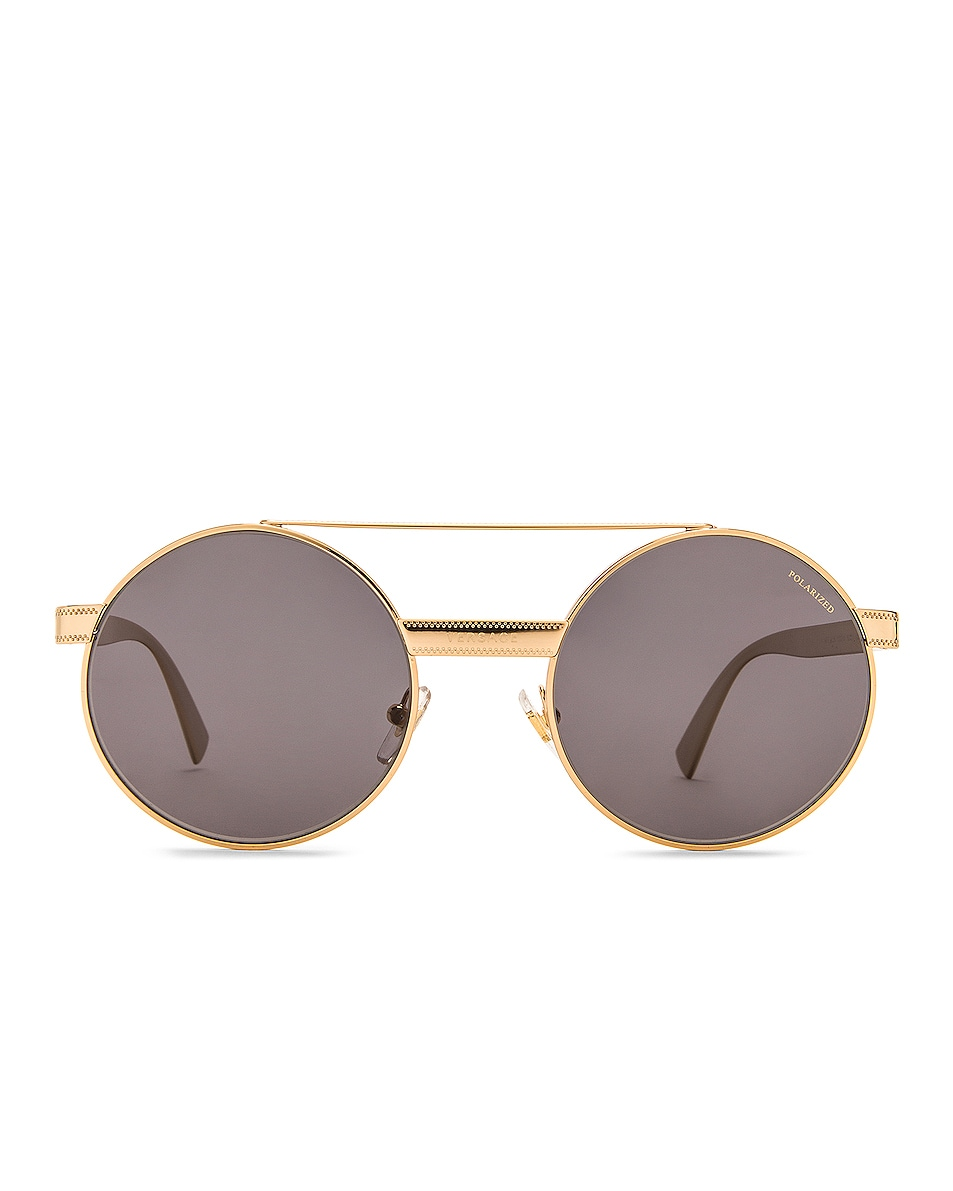 Image 1 of VERSACE Metal Round Sunglasses in Gold & Polar Grey