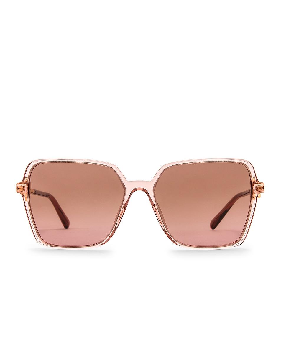 Image 1 of VERSACE Enamel Medusa Square Sunglasses in Transparent Pink & Violet Gradient Brown