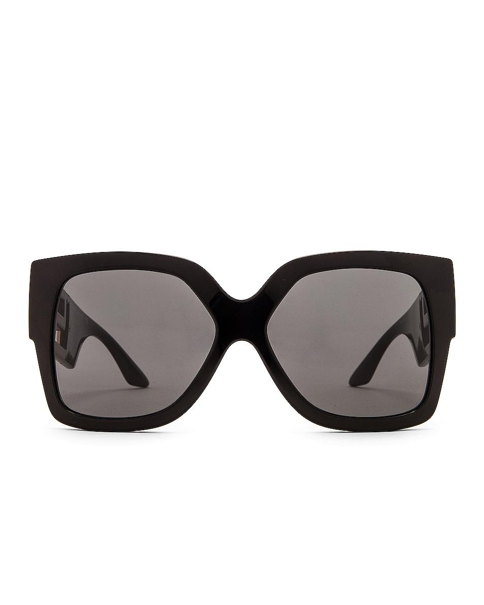 Image 1 of VERSACE Greca Sunglasses in Black & Dark Grey
