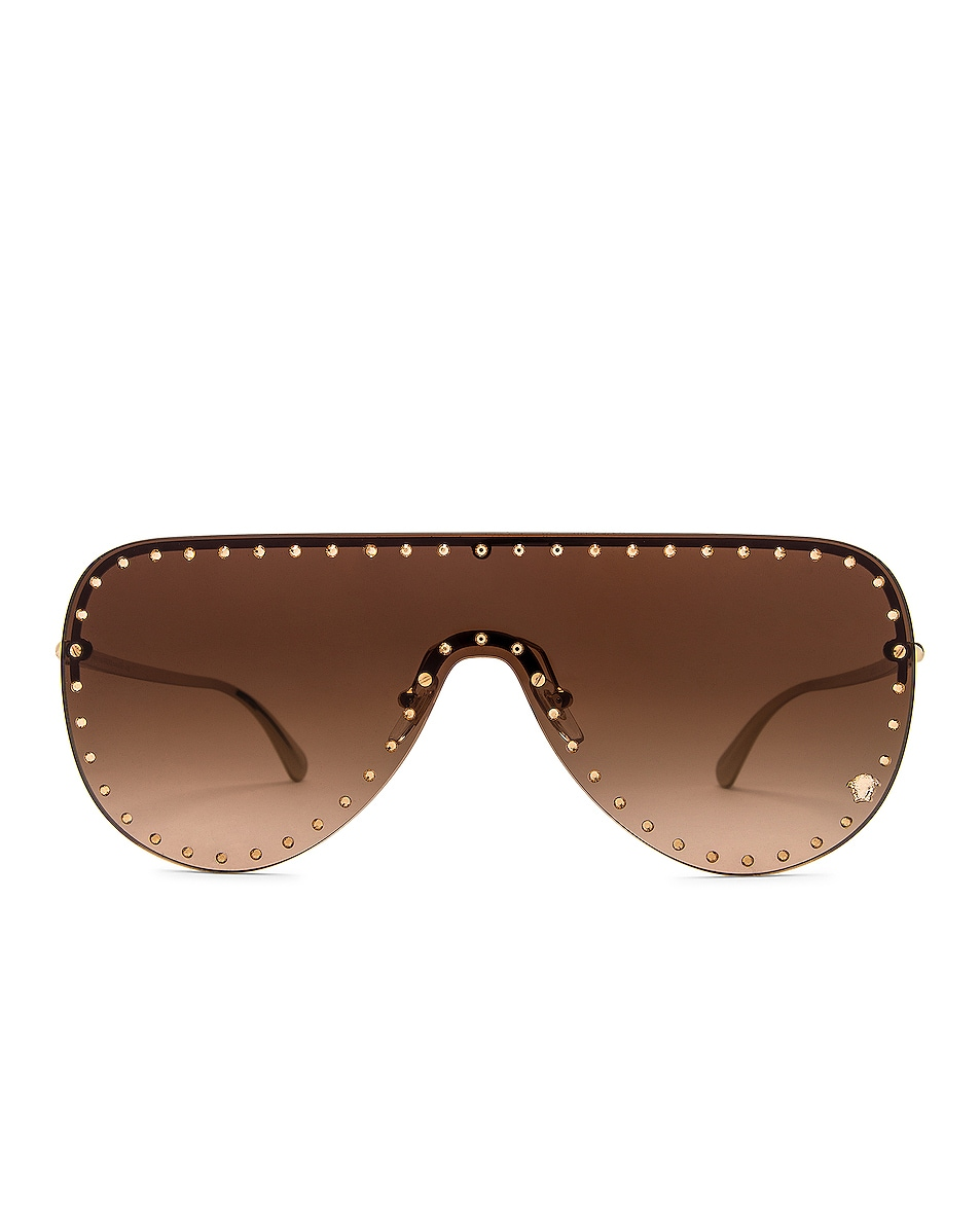 Image 1 of VERSACE Glam Medusa Shield Sunglasses in Pale Gold & Brown Gradient
