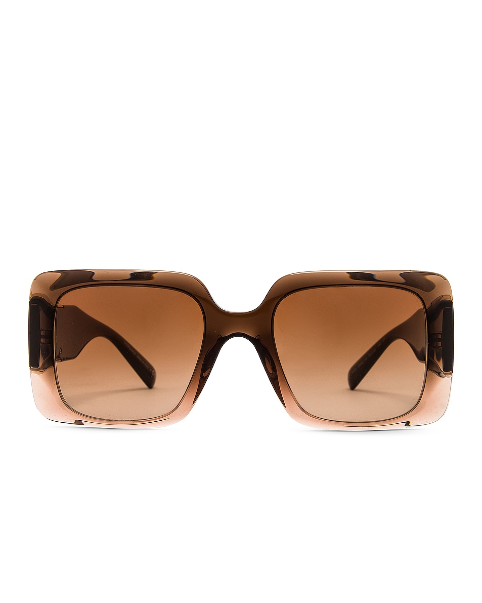 Image 1 of VERSACE Medusa Stud Rectangular Sunglasses in Transparent Brown Gradient