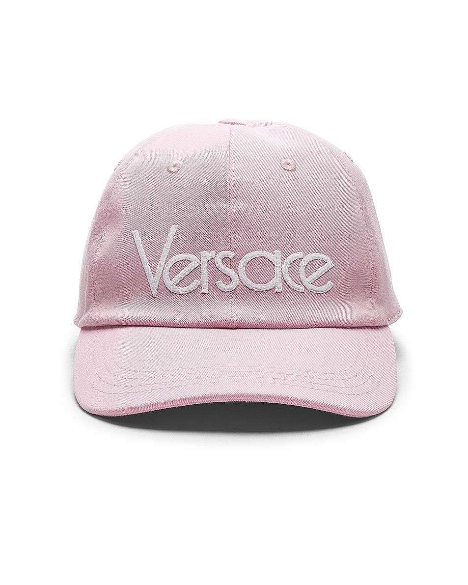 Image 1 of VERSACE Logo Baseball Cap in Pink & White