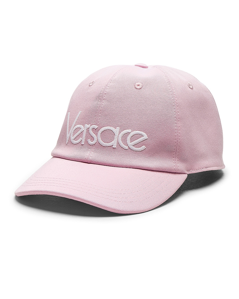 Image 2 of VERSACE Logo Baseball Cap in Pink & White