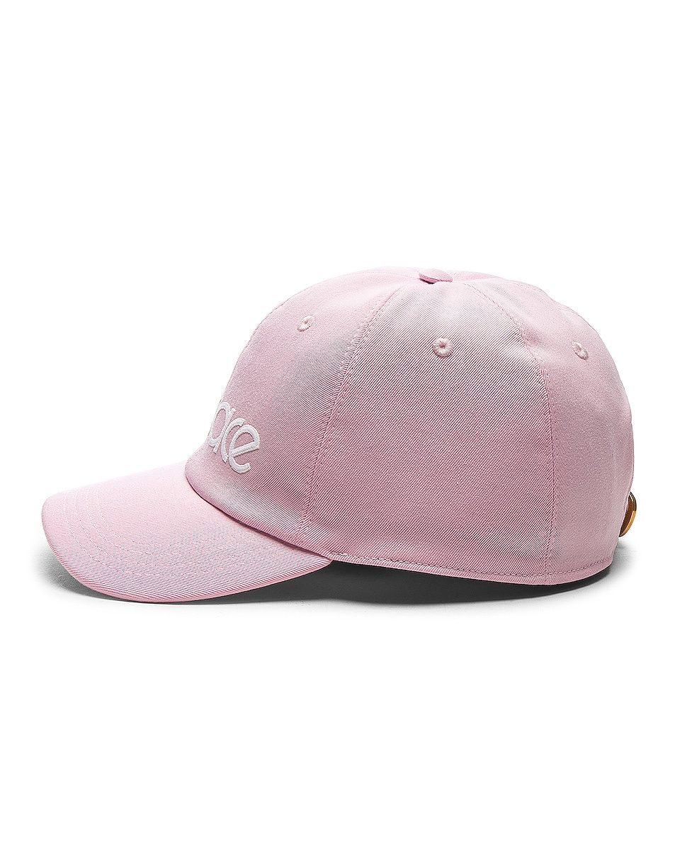 Image 3 of VERSACE Logo Baseball Cap in Pink & White