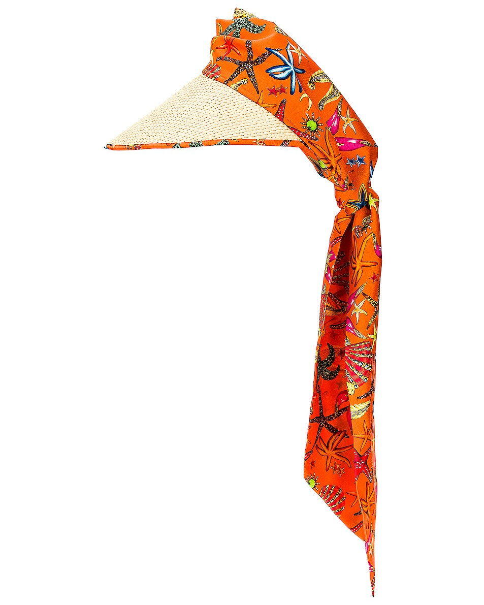 Image 1 of VERSACE Tresor De La Mer All Over Scarf Hat in Arancione & Multicolor