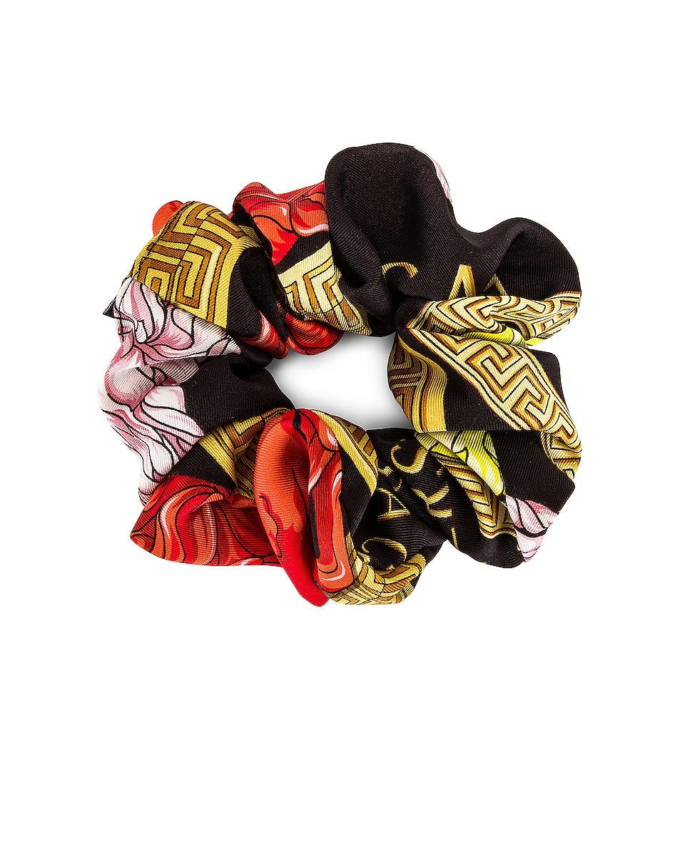 Image 1 of VERSACE Medusa Amplified Scrunchie in Nero & Multicolor
