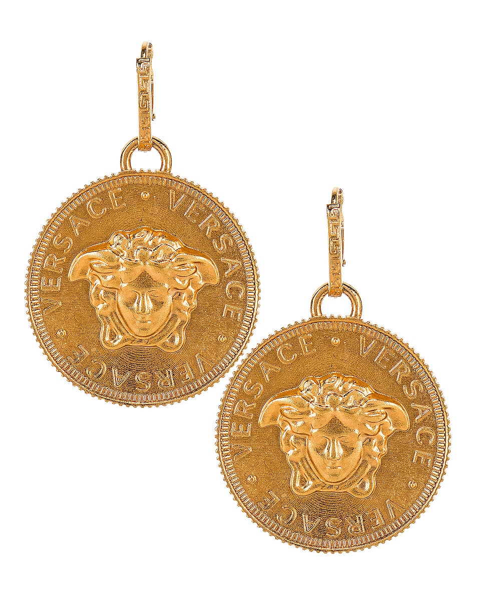 Image 1 of VERSACE Logo Circle Earrings in Gold