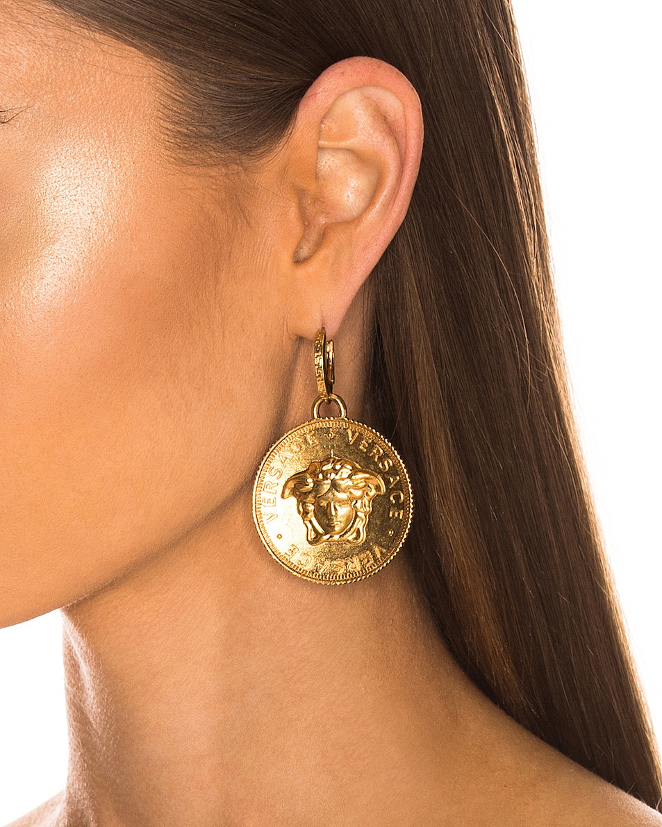 Image 2 of VERSACE Logo Circle Earrings in Gold