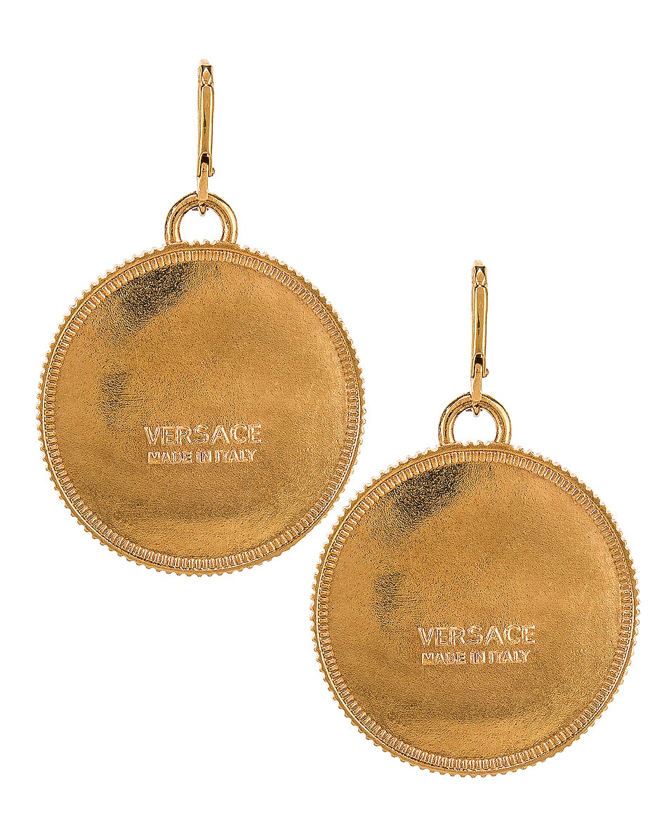 Image 4 of VERSACE Logo Circle Earrings in Gold