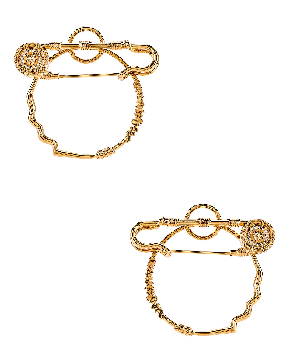 Image 1 of VERSACE Pin Earrings in Crystal & Gold