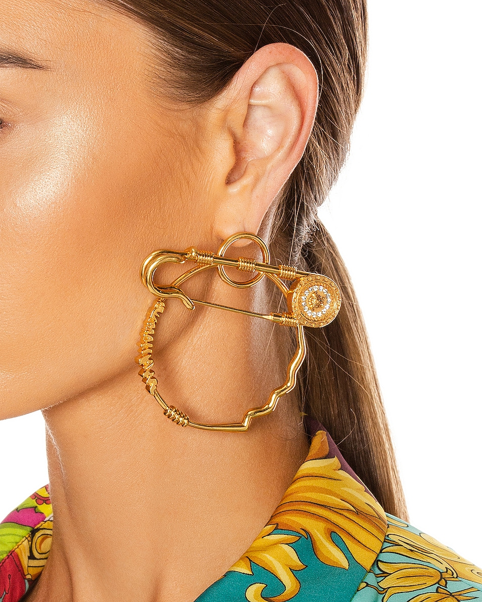 Image 2 of VERSACE Pin Earrings in Crystal & Gold