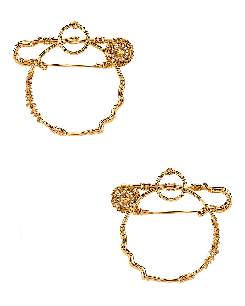 Image 4 of VERSACE Pin Earrings in Crystal & Gold