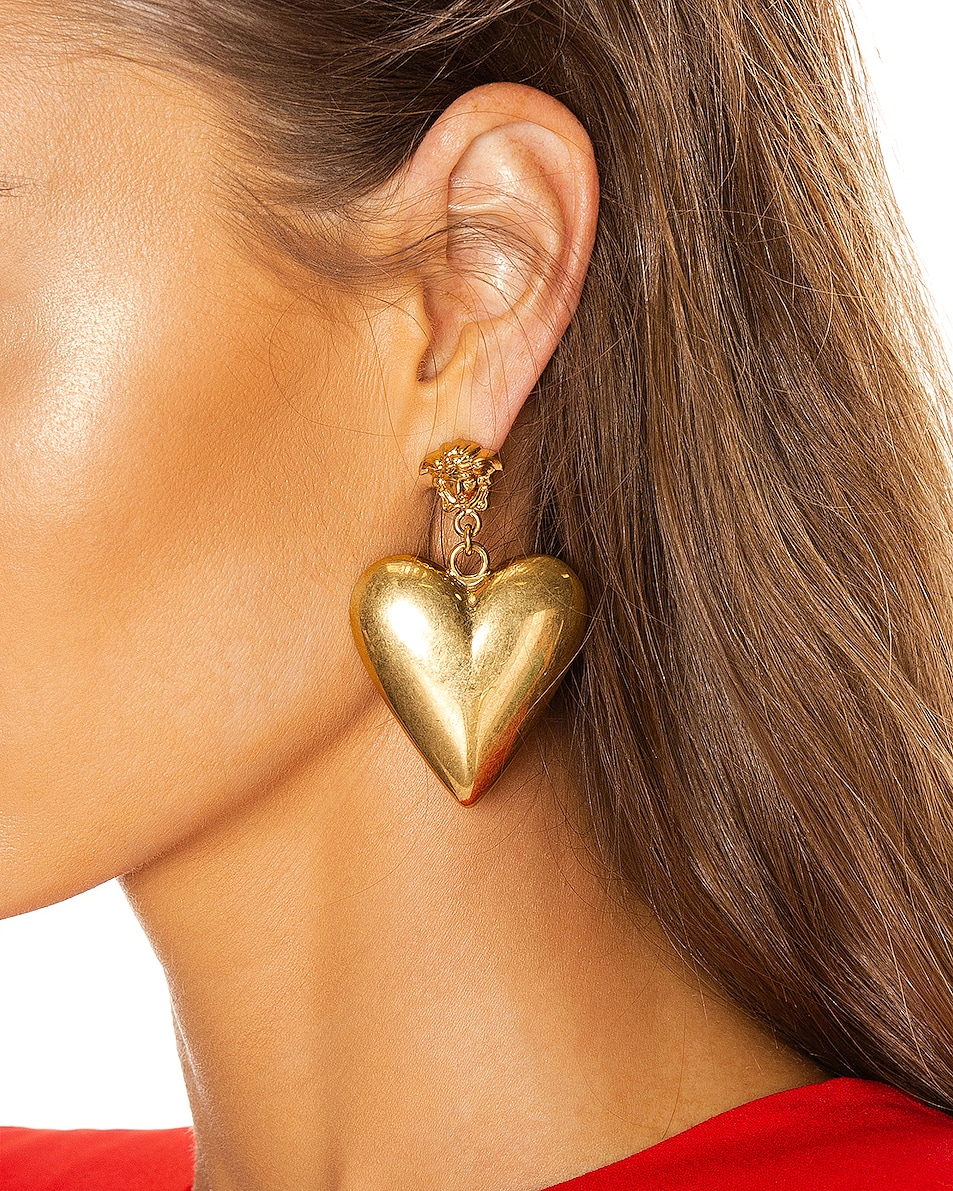 Image 2 of VERSACE Heart Earrings in Gold