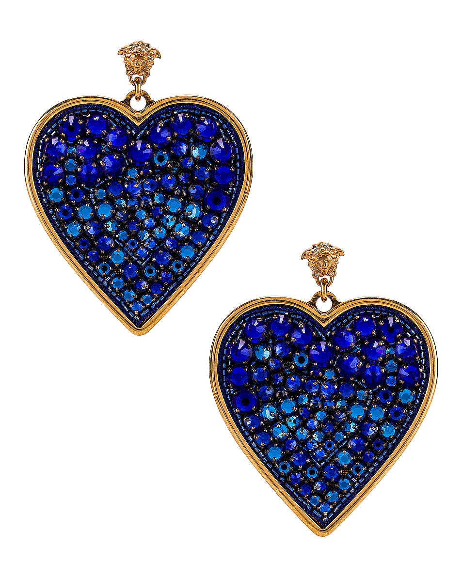 Image 1 of VERSACE Heart Earrings in Blue & Gold