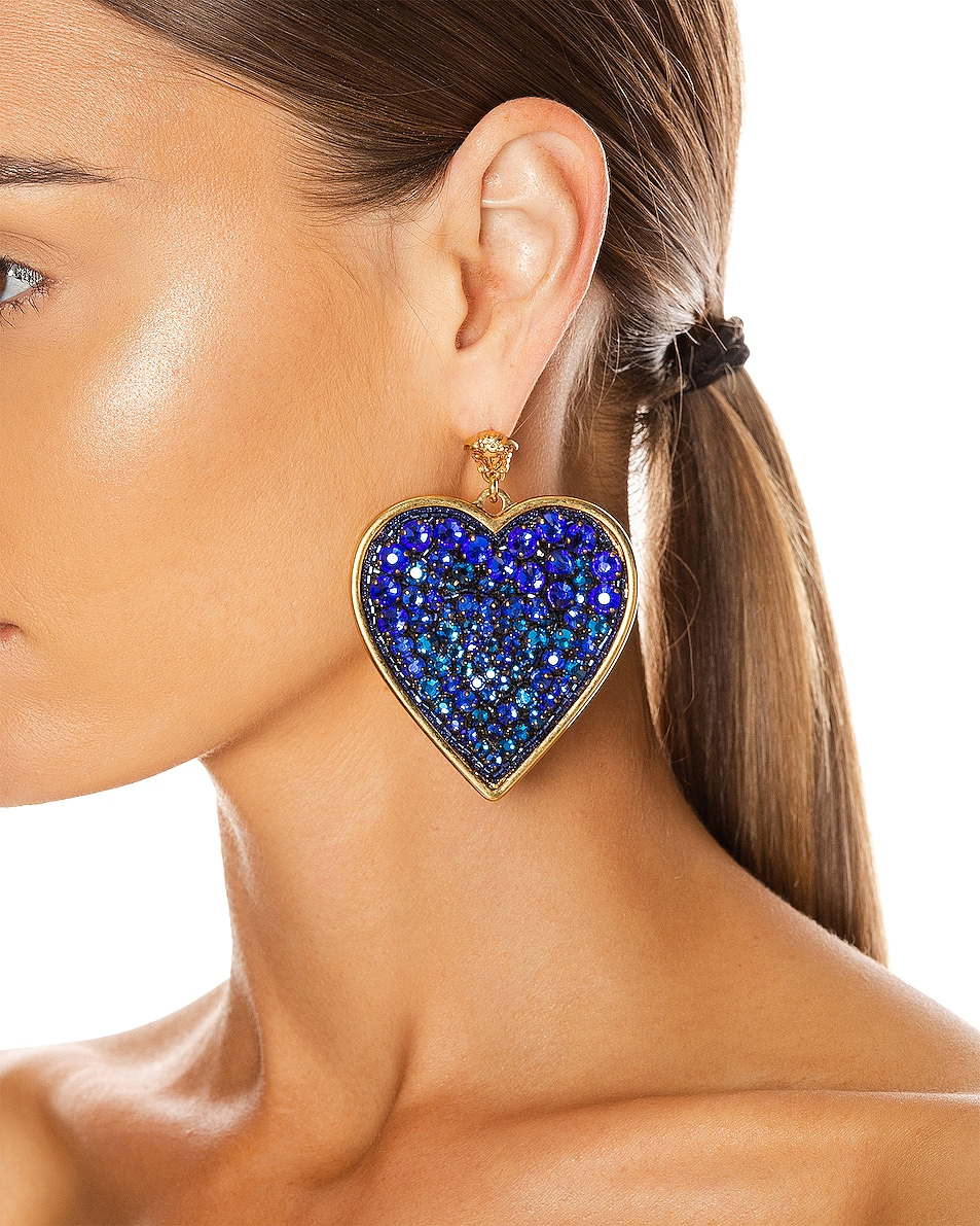 Image 2 of VERSACE Heart Earrings in Blue & Gold