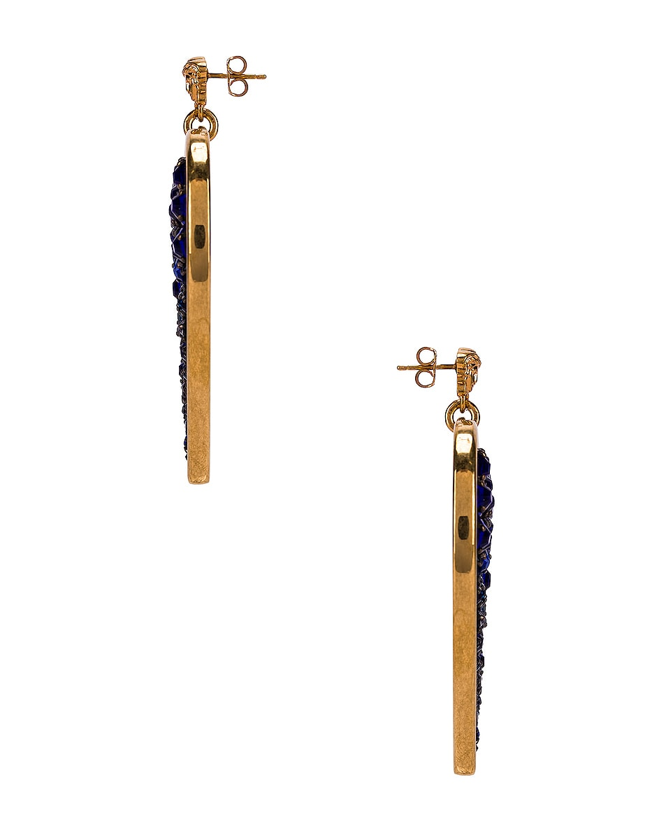 Image 3 of VERSACE Heart Earrings in Blue & Gold
