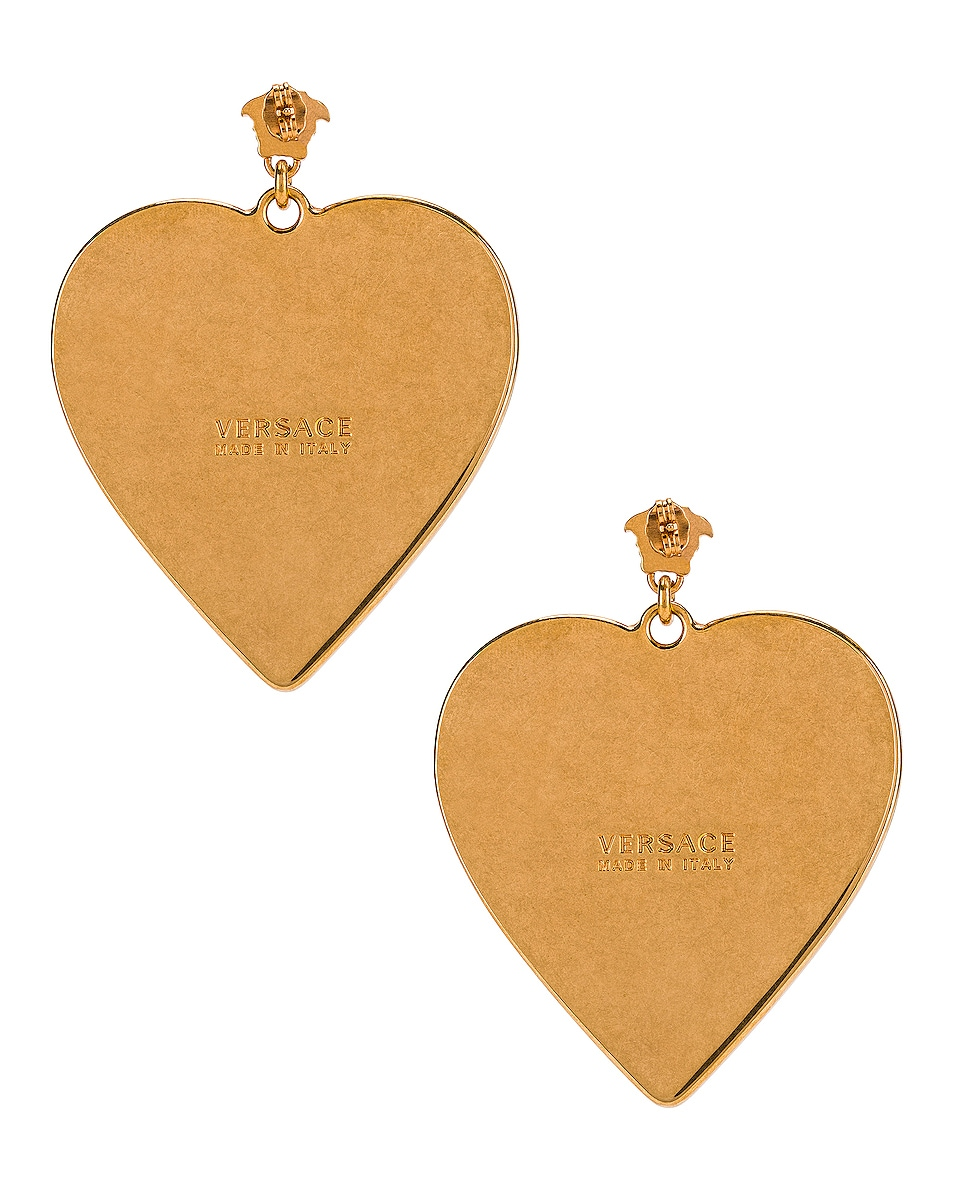 Image 4 of VERSACE Heart Earrings in Blue & Gold