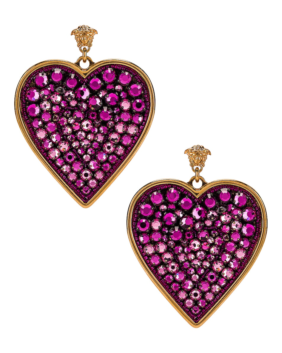 Image 1 of VERSACE Heart Earrings in Fuchsia & Gold