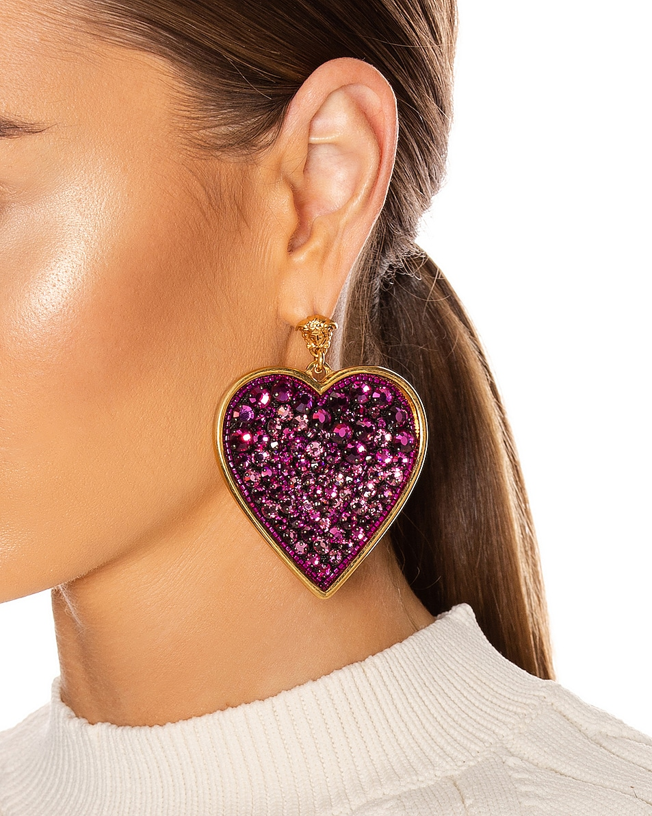 Image 2 of VERSACE Heart Earrings in Fuchsia & Gold