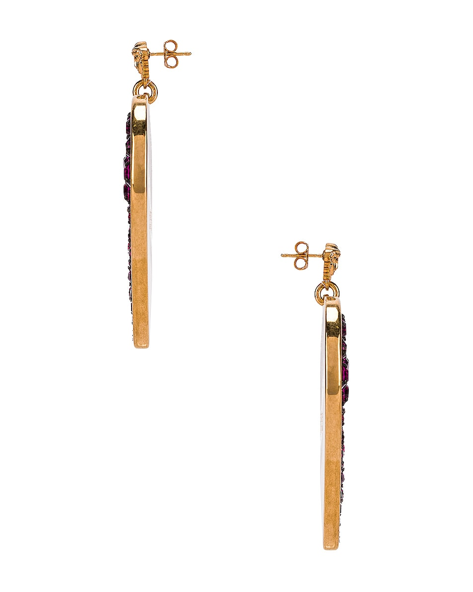 Image 3 of VERSACE Heart Earrings in Fuchsia & Gold