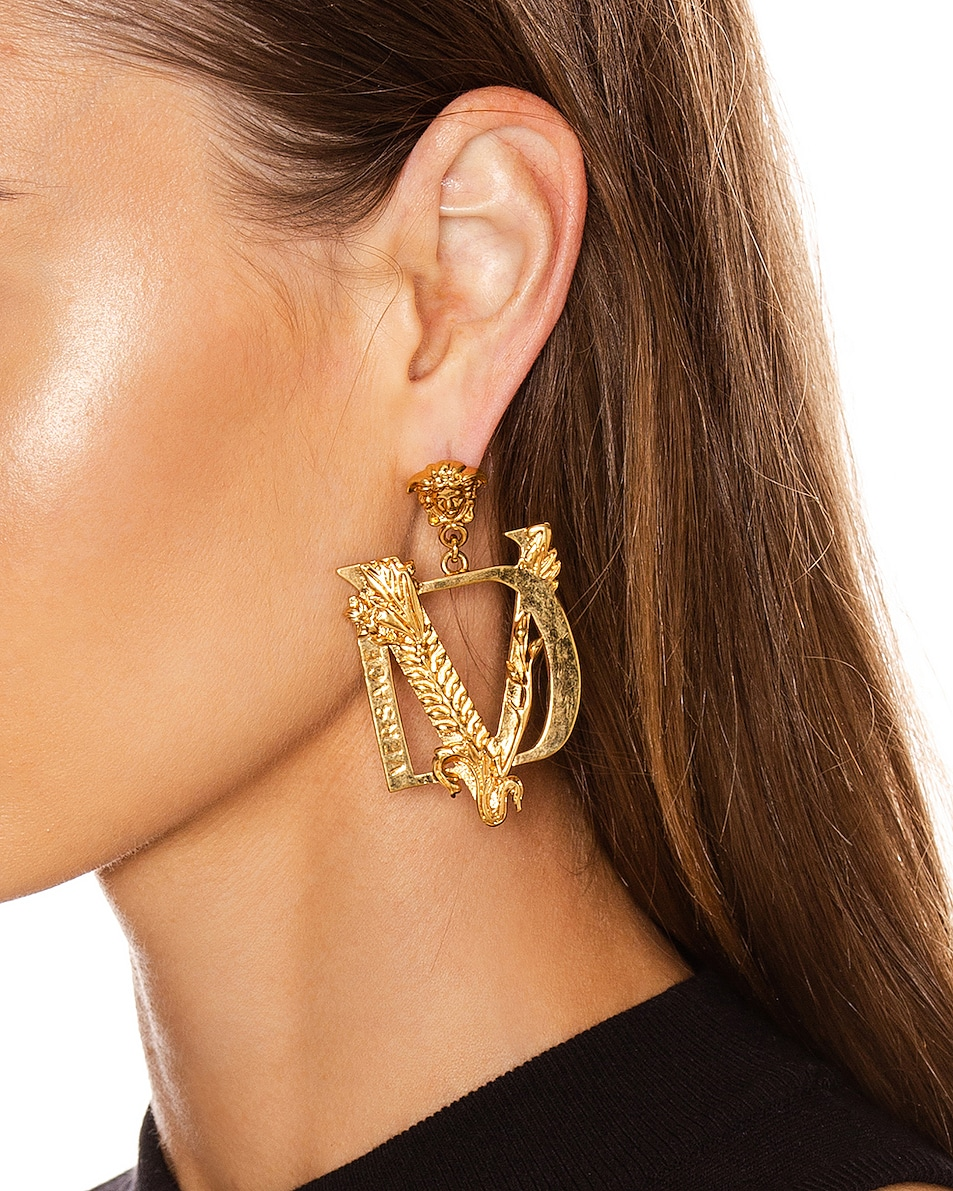 Image 2 of VERSACE Tribute Earrings in Gold