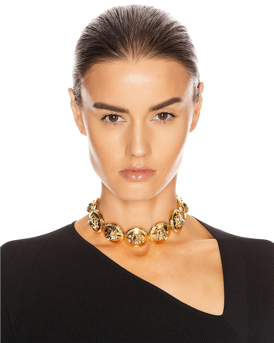 Image 2 of VERSACE Chunky Choker Necklace in Gold