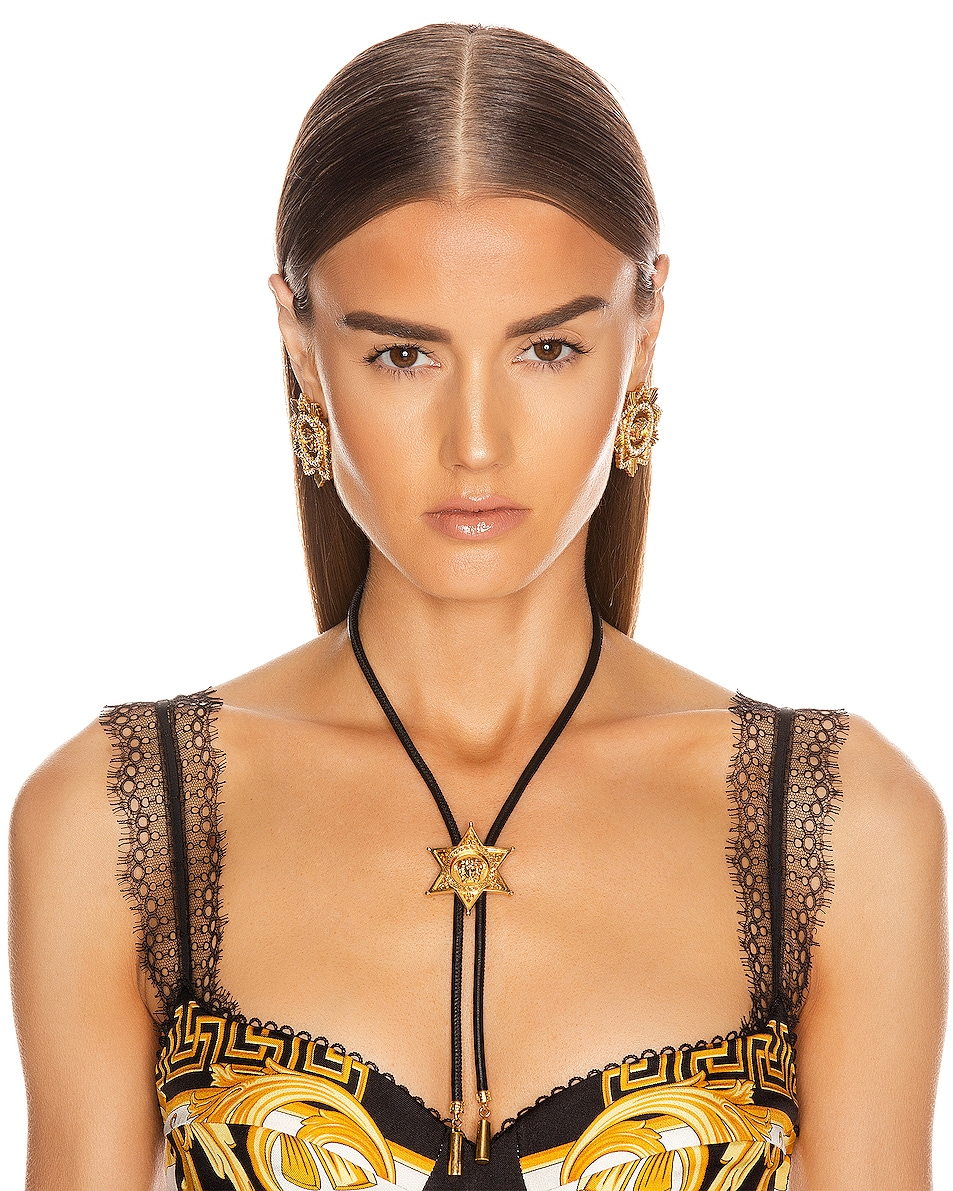 Image 2 of VERSACE Starburst Bolo Necklace in Black & Gold