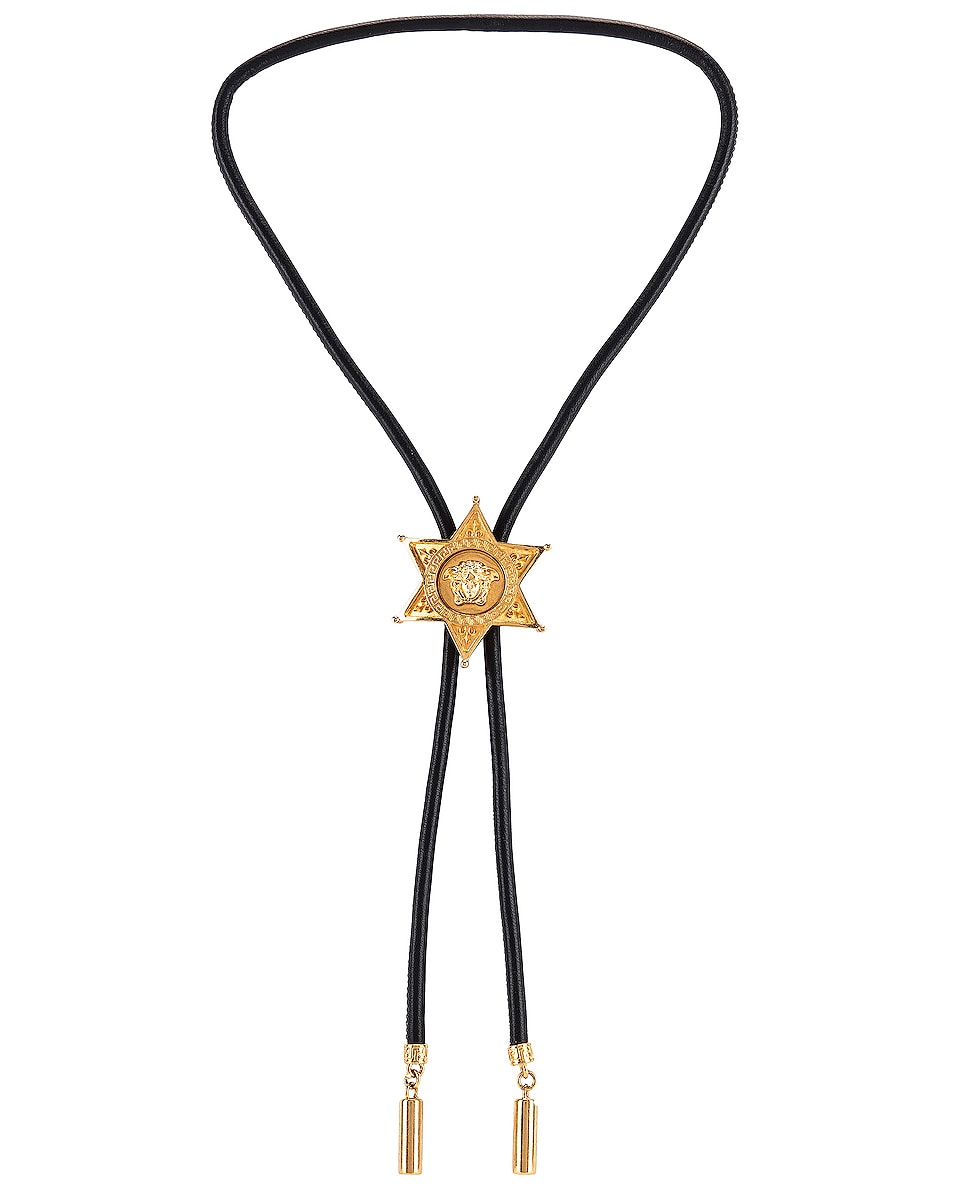 Image 3 of VERSACE Starburst Bolo Necklace in Black & Gold