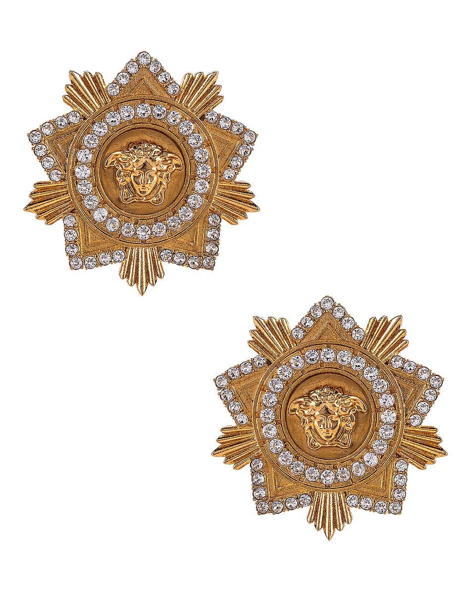 Image 1 of VERSACE Starburst Earrings in Crystal & Gold