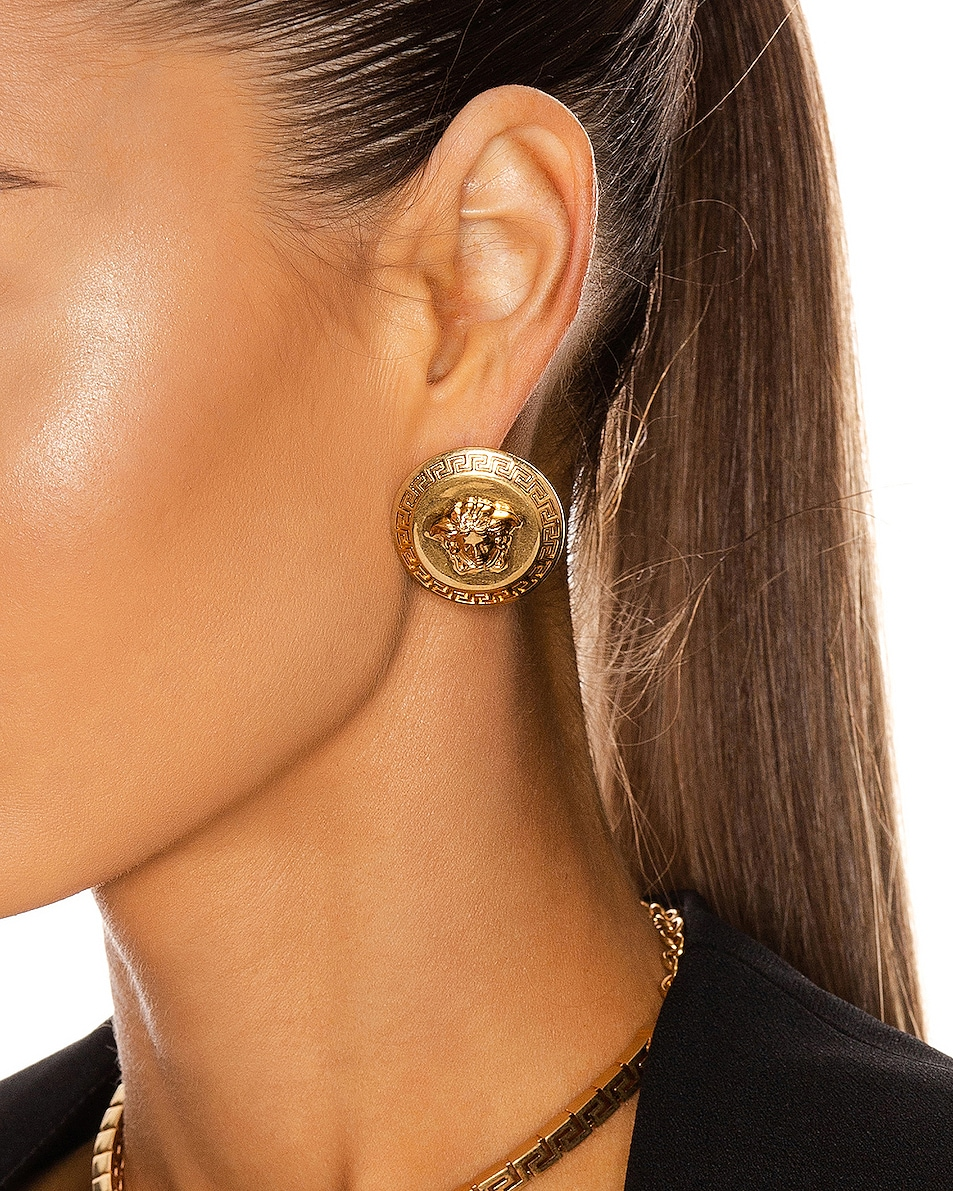 Image 2 of VERSACE Coin Stud Earrings in Gold