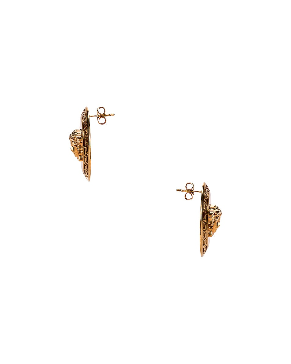 Image 3 of VERSACE Coin Stud Earrings in Gold