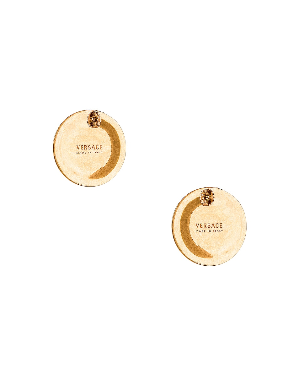 Image 4 of VERSACE Coin Stud Earrings in Gold